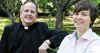 Francis McAloon, S.J., and Shannon McAlister, Ph.D., are helping deepen the study of spirituality at the Graduate School of Religion and Religious Education.  Photo by Joanna Klimaski