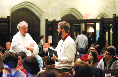 Timothy Radcliffe, O.P., former Master of the Dominican Order, answered a question on Christianity and the imagination on Feb. 12. Photo by Bruce Gilbert