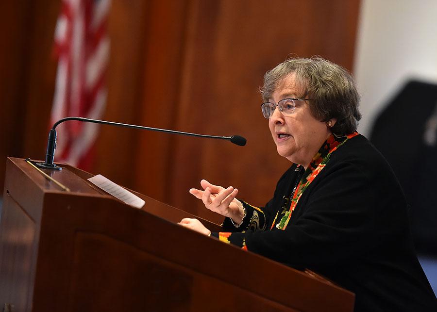 Elizabeth Johnson, CSJ, PhD, distinguished professor of theology. Photo by Dana Maxson