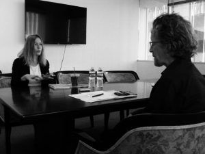 """GRE professor Tom Beaudoin interviews Grammy-nominated singer-songwriter Sam Phillips for his """"Faith in Music"""" course on March 9, 2017 in Los Angeles, CA. Phillipswrote the song, """"Sister Rosetta Goes Before Us,"""" which became a hit for Robert Plant and Alison Krauss. Photo credit: Eric Gorfain"""