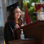 Student speaker at Commencement podium