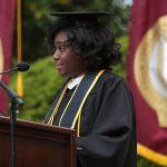 student speaker at podium