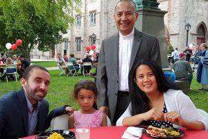 """Steffano Montano, his daughter Malaya, his wife Christina Leaño and GRE Dean Faustino """"Tito"""" Cruz,"""""""